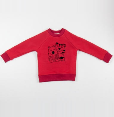 Cвитшот Детский красный 340гр, теплый - Мистер Тигр и Господин Вомбат