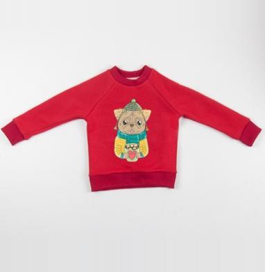 Cвитшот Детский красный 340гр, теплый - Мопсик