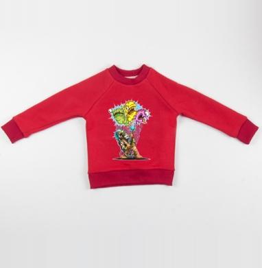 Cвитшот Детский красный 340гр, теплый - Охотник за вирусами