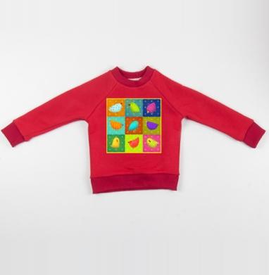 Cвитшот Детский красный 340гр, теплый - Птичий базар
