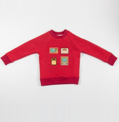 Cвитшот Детский красный 340гр, теплый - Ретро радио