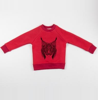 Cвитшот Детский красный 340гр, теплый - Рысь с орнаментом