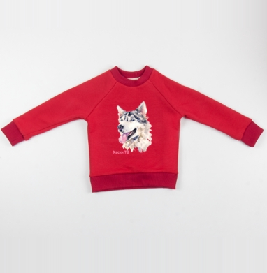 Cвитшот Детский красный 340гр, теплый - Собака хаски