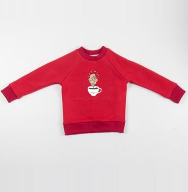 Cвитшот Детский красный 340гр, теплый - Субботний кофе