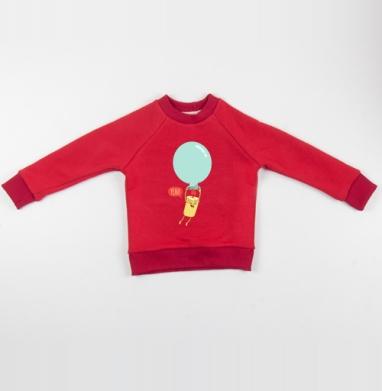 Cвитшот Детский красный 340гр, теплый - СВЕЧА НА ШАРЕ