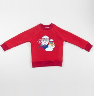 Cвитшот Детский красный 340гр, теплый - Узор из собак и котов