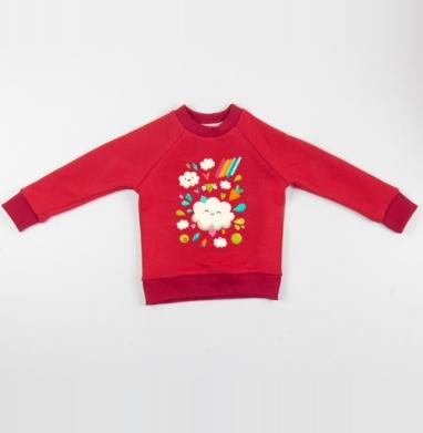 Cвитшот Детский красный 340гр, теплый - Веселье наверху