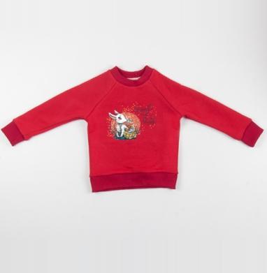 Cвитшот Детский красный 340гр, теплый - Время весны идет