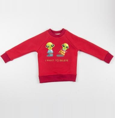 Cвитшот Детский красный 340гр, теплый - Я хочу верить