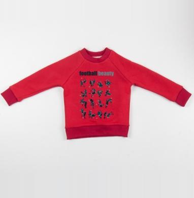 Cвитшот Детский красный 340гр, теплый - Football Beaty