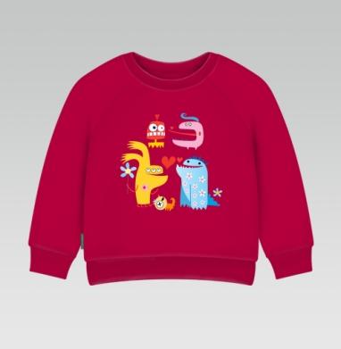 Cвитшот Детский темно-красный 340гр, теплый - Узор свидания монстров