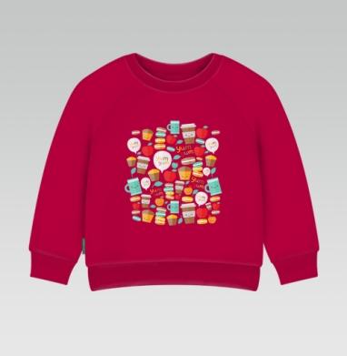 Cвитшот Детский темно-красный 340гр, теплый - Ям-ям