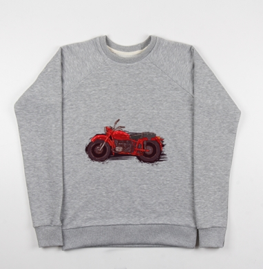 Красный мотоцикл - Купить мужские свитшоты серые в Москве, цена мужских свитшотов серых с прикольными принтами - магазин дизайнерской одежды MaryJane
