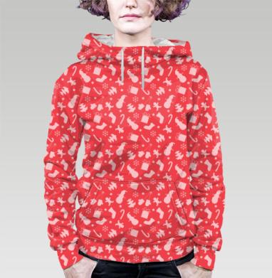 Толстовка женская с карманом 3D - Красный новогодний паттерн