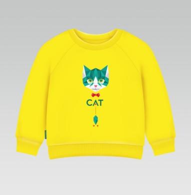 Кот Касперского, Cвитшот Детский желтый 240гр, тонкая