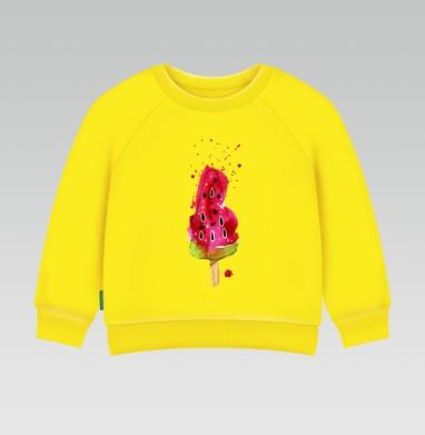Арбузное мороженное, Cвитшот Детский желтый 240гр, тонкая