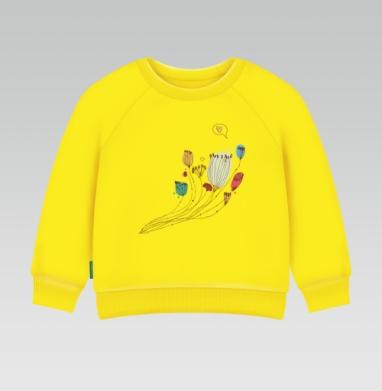 Цветы говорят о любви, Cвитшот Детский желтый 240гр, тонкая