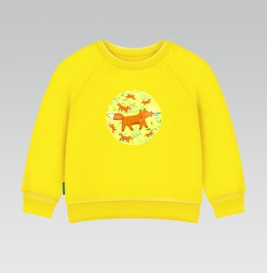 Cвитшот Детский желтый 240гр, тонкая - Гуляющая лиса