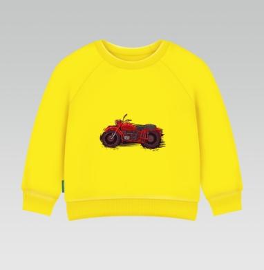 Красный мотоцикл, Cвитшот Детский желтый 240гр, тонкая