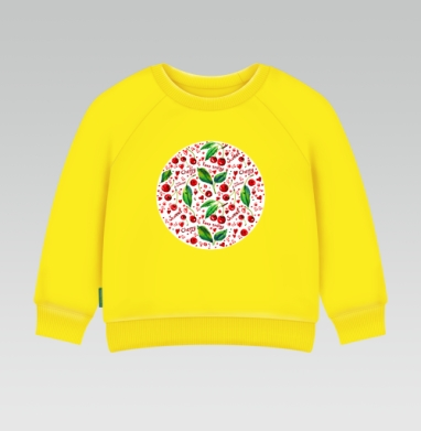 Вишнёвый паттерн, Cвитшот Детский желтый 240гр, тонкая