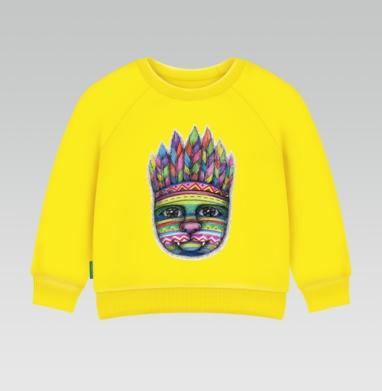 Cвитшот Детский желтый 240гр, тонкая - Вождь пушистых