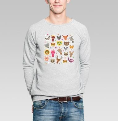 Животные панда олень жираф зебра слон лев кошка волк лошадь енот лиса - Купить мужские свитшоты милые в Москве, цена мужских свитшотов милых  с прикольными принтами - магазин дизайнерской одежды MaryJane
