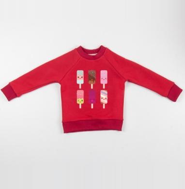 Cвитшот Детский красный 340гр, теплый - Мороженое - пломбир, эскимо на палочке. Полная запечатка