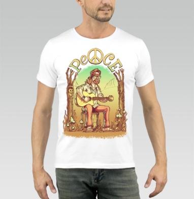 Старый лесной хиппи - Купить мужские футболки с грибами в Москве, цена мужских футболок с грибами с прикольными принтами - магазин дизайнерской одежды MaryJane