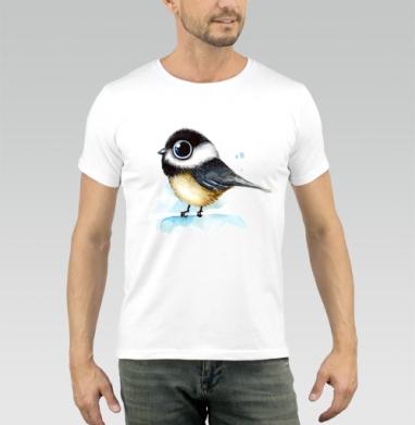 Воробей- акварелька - Купить мужские футболки с акварелью в Москве, цена мужских футболок с акварелью  с прикольными принтами - магазин дизайнерской одежды MaryJane