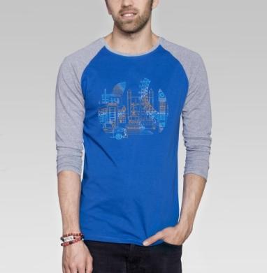Город Лондон - Футболка мужская с длинным рукавом синий / серый меланж, город, Популярные