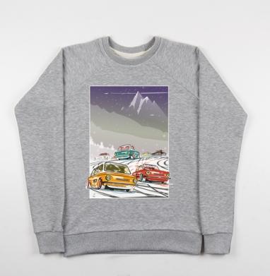 Ралли винтаж зимняя ночь - Купить мужские свитшоты с горами в Москве, цена мужских свитшотов с горами с прикольными принтами - магазин дизайнерской одежды MaryJane