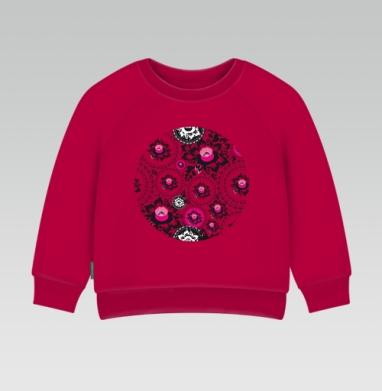 Cвитшот Детский темно-красный 340гр, теплый - черно-розовые цветы