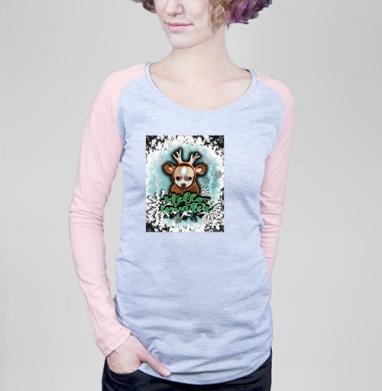 Привет,зима. - Футболка женская с длинным рукавом серый меланж/розовая