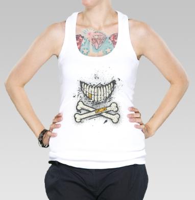 Костяная улыбка (гранж версия), Борцовка женская белая рибана 200гр