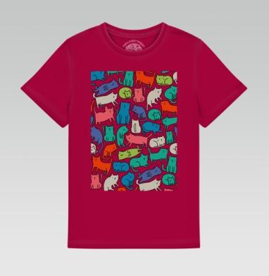 Детская футболка темн. красная 160гр - Киттикэтс