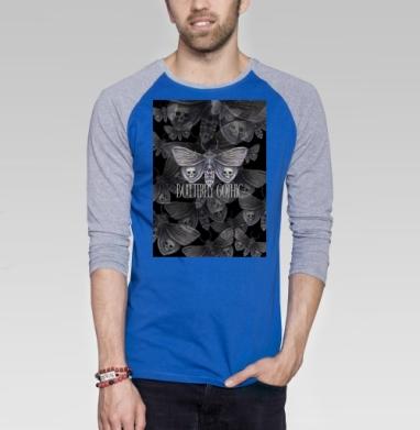 Бабочка готика - Футболка мужская с длинным рукавом синий / серый меланж, Бабочки