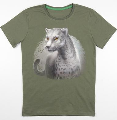 Серый леопард, Футболка мужская хаки 180гр