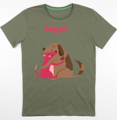 Собаки-Обнимаки, Футболка мужская хаки 180гр
