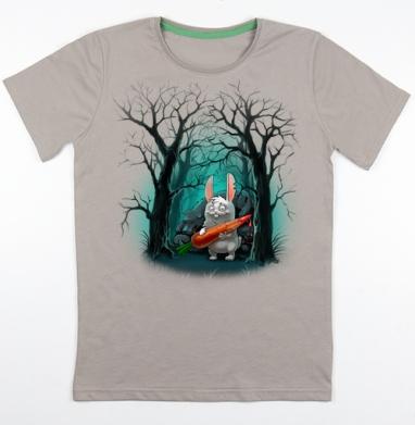 Кролик с морковкой, Футболка мужская св. коричневый 180гр