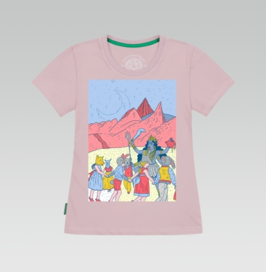 Розовые холмы, Футболка женская серо-розовая 180 гр.