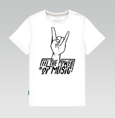 Детская футболка белая 160гр, Feel the power of music