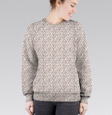 Cвитшот женский без капюшона (полная запечатка) - Узор в мелкий цветочек