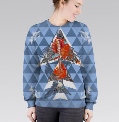 Анатомическая рыба-треугольник, Cвитшот женский без капюшона (полная запечатка)