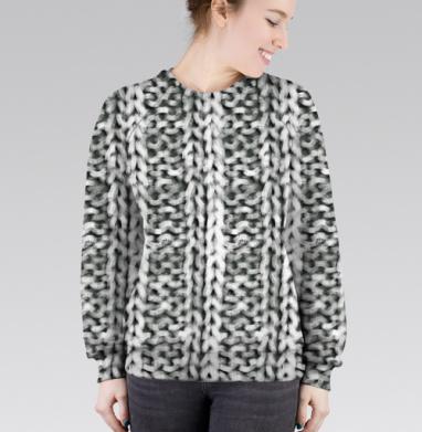 Cвитшот женский 3D - Серый вязаный свитер