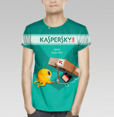 Футболка мужская 3D - Антивирус Касперского  - первая версия - пиксельарт