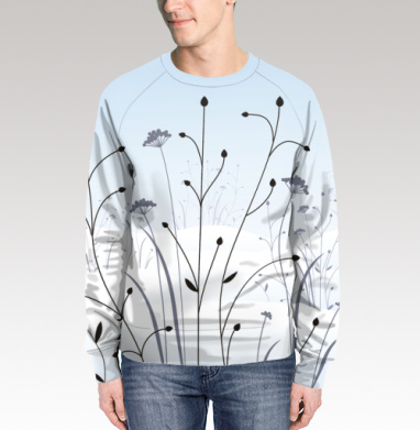 Свитшот мужской 3D - Сухие травы в зимнем поле