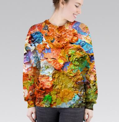 Cвитшот женский 3D - Палитра, застывшие краски