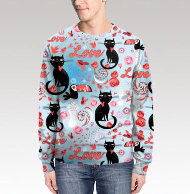 Свитшот мужской без капюшона (полная запечатка) - Влюблённые коты и птицы