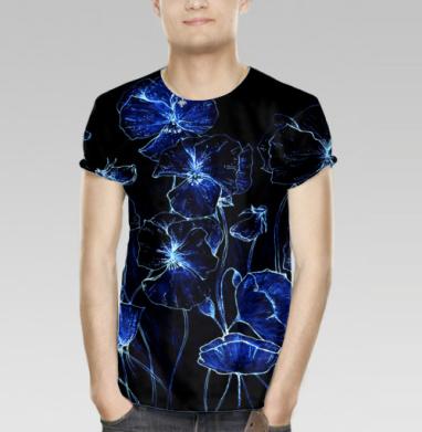 Футболка мужская 3D - Синие цветы на черном фоне