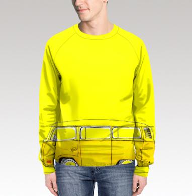 Жёлтый Автобус, Свитшот мужской без капюшона (полная запечатка)